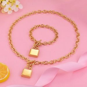 Gold Lock Necklace and Bracelet Set